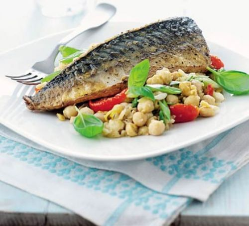 Mackerel with Basil & Lemon Chickpeas